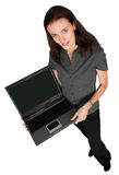 Business woman with laptop - full body Stock Photo