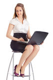 Business Woman With Laptop. Happy business woman with laptop, isolated on white Royalty Free Stock Photo