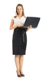 Business Woman With Laptop. Happy business woman with laptop,  on white Stock Image