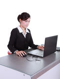 Business woman with a laptop Stock Photography