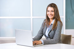 Business woman laptop in modern office Stock Image