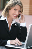 Business Woman with Laptop Outdoors Royalty Free Stock Photos