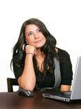 Business woman and laptop over white Royalty Free Stock Photo