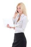 Business woman with laptop and phone isolated on white backgroun Royalty Free Stock Image