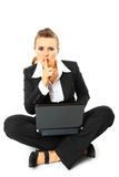 Business woman with laptop and showing shh gesture Stock Photo