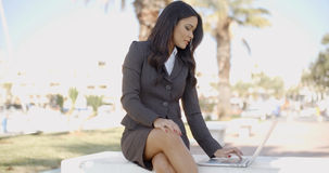 Business Woman With Laptop Sitting On The Bench Royalty Free Stock Photo