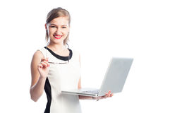 Business woman with laptop smiling Royalty Free Stock Photos