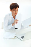 Business woman with  laptop working in office Stock Photos