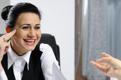 Business woman laughing Royalty Free Stock Photos