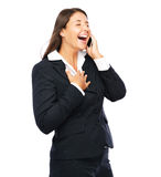 Business woman laughing on phone Stock Photos