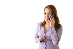 Business Woman Laughing on Phone. Business woman laughing while talking on the phone Stock Images