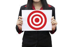 Business woman Leader hand working pressing on target Royalty Free Stock Photo
