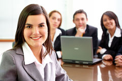 Business woman leading a team Stock Image