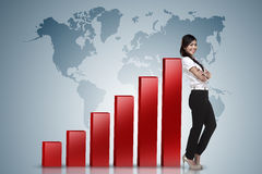Business woman lean on graph. Asian business woman lean on increasing graph Royalty Free Stock Image
