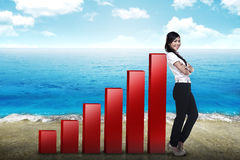 Business woman lean on graph Stock Image