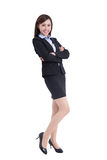 Business woman lean something. Isolated on white background, asian Stock Images