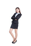 Business woman lean something. Isolated on white background, asian Royalty Free Stock Photography