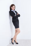Business woman  lean wall Royalty Free Stock Image