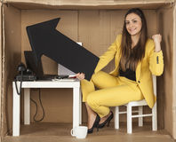 Business woman leaps for joy with the right choice Stock Images