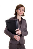 Business woman with leather bag Royalty Free Stock Image