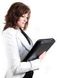 Business woman with a leather case Stock Images
