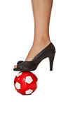 Business woman leg in high heel with soccer ball Royalty Free Stock Image