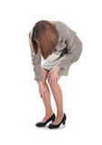Business woman with a leg injury isolated Stock Image