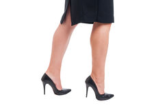 Business woman legs walking Stock Images