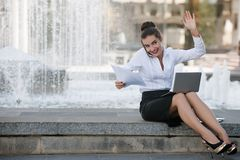 Business woman lifestyle laptop outdoor work Royalty Free Stock Photo