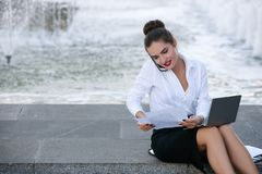 Business woman lifestyle laptop outdoor work. Business woman lifestyle laptop outdoor deadline paper work proccess concept Royalty Free Stock Images