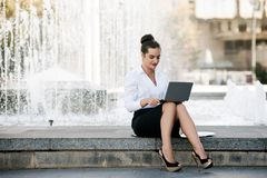 Business woman lifestyle laptop outdoor work Stock Image