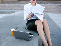 Business woman lifestyle laptop outdoor work. Business woman secretary lifestyle laptop outdoor paper work proccess concept Stock Photography