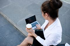 Business woman lifestyle laptop outdoor work Royalty Free Stock Images