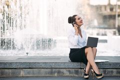 Business woman lifestyle laptop outdoor work Stock Photo