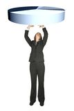Business woman lifting a pie chart Stock Photo