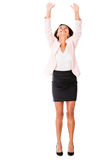 Business woman lifting something Royalty Free Stock Photography