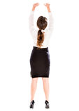 Business woman lifting something Royalty Free Stock Images