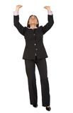 Business woman lifting something up Royalty Free Stock Photo