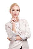 Business woman in a light beige suit Royalty Free Stock Image