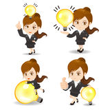 Business woman with light bulb Stock Photos