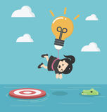 Business woman with a light bulb parachute is flying above the r Royalty Free Stock Image