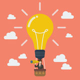 Business woman in lightbulb balloon search to success Royalty Free Stock Photos