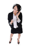 Business woman listen music Royalty Free Stock Photos