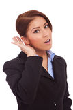 Business woman listening Stock Image