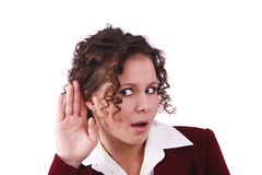Business woman listening gossip Royalty Free Stock Photos