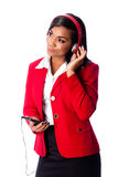 Business woman listening to music Royalty Free Stock Images