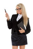 Business woman with daily log and pen. Stock Photo