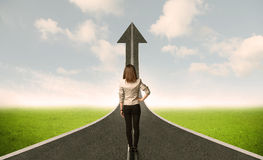 Business Woman Lokking At 3d Road With Up Arrow Royalty Free Stock Photo