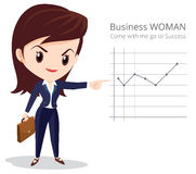 Business woman long hiar character. Vector of Business woman character look so smart pointing graph go to success Royalty Free Stock Photo