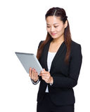 Business woman look at digital tablet Stock Photos